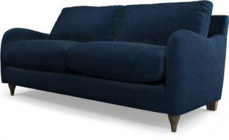 An Image of Custom MADE Sofia 2 Seater Sofa, Plush Indigo Velvet with Light Wood Legs