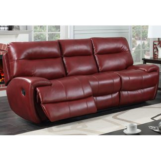 An Image of Orionis LeatherGel And PU Recliner 3 Seater Sofa In Red