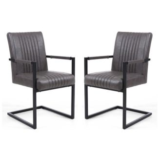 An Image of Dewall Cantilever Chair In Grey With Black Frame In A Pair
