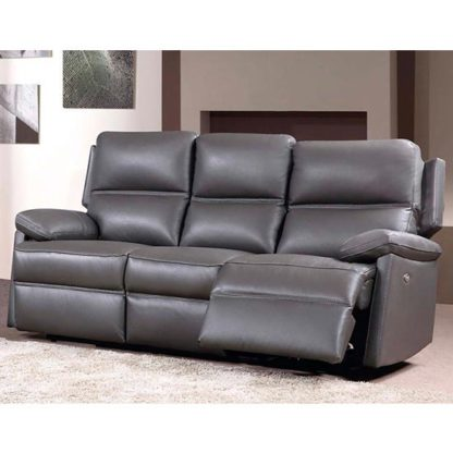 An Image of Bailey Leather 3 Seater Fixed Sofa In Grey