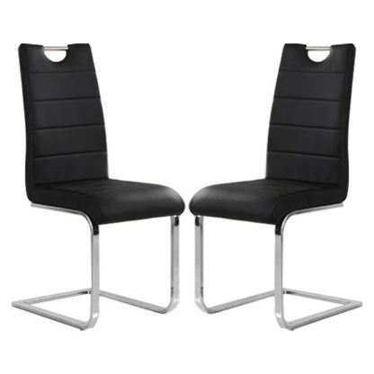 An Image of Petra Black Faux Leather Dining Chairs In Pair