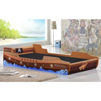 An Image of Caribbean Pirate Ship Single Bed