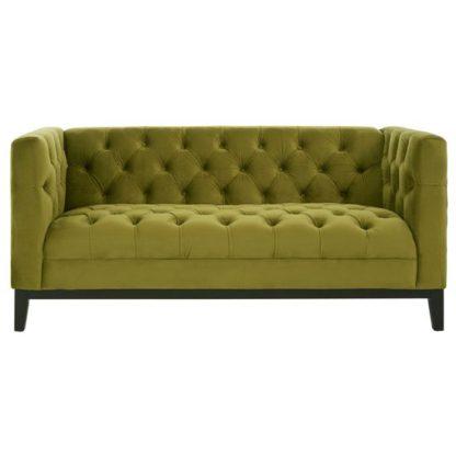 An Image of Okab Viola Moss Fabric 2 Seater Sofa In Green