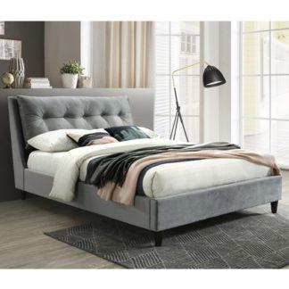 An Image of Megan Velvet Upholstered Double Bed In Grey