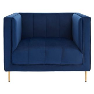 An Image of Macondo Velvet Armchair In Deep Blue