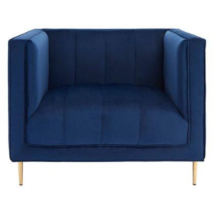 An Image of Macondo Velvet Armchair In Deep Blue