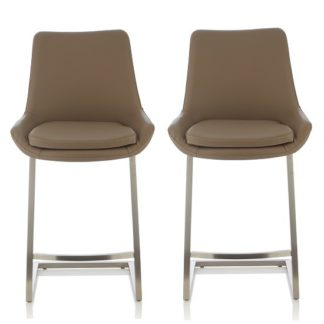 An Image of Rasmus Bar Stool In Taupe Faux Leather In A Pair