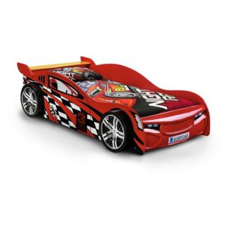 An Image of Alfred Kids Racing Car Bed In High Gloss Red