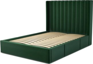 An Image of Custom MADE Cory Double size Bed with Drawers, Bottle Green Velvet