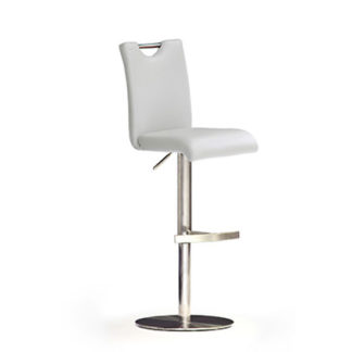 An Image of Bardo White Bar Stool In Faux Leather With Stainless Steel Base