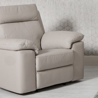 An Image of Enzo Faux Leather Armchair In Putty