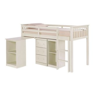 An Image of Milli Solid Off White Finish Sleep Station With Pull Out Desk
