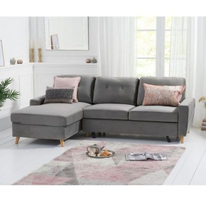 An Image of Correen Velvet Left Hand Facing Chaise Sofa Bed In Grey