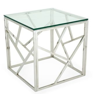 An Image of Betty Glass Lamp Table With Polished Stainless Steel Base