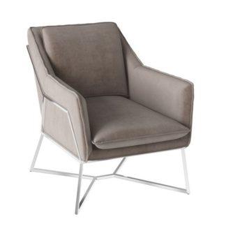 An Image of Lara Velvet Fabric Lounge Chair In Mink