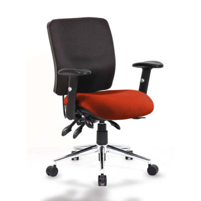An Image of Chiro Medium Back Office Chair With Tabasco Red Seat