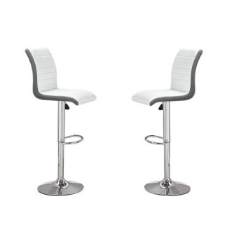 An Image of Ritz Bar Stools In White And Grey Faux Leather In A Pair