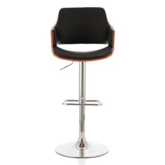 An Image of Finnley Bar Stool In Walnut And Black PU With Chrome Base