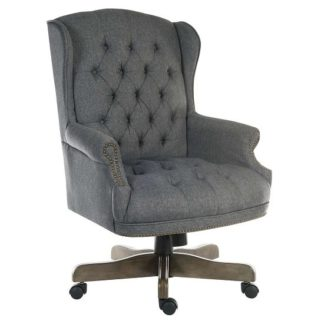 An Image of Patmos Executive Office Chair In Grey Fabric With Wheels