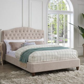 An Image of Sorrento Double Fabric Bed In Pink