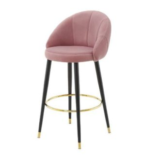 An Image of Hambree Highback Bar Stool In Blush Pink With Black Legs