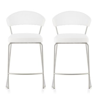 An Image of Adelina Contemporary Bar Stool In White Faux Leather In A Pair