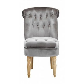 An Image of Carlos Boudoir Style Chair In Silver Fabric With Linen Effect