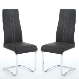 An Image of Hanover Cantilever Dining Chairs In Dark Grey Fabric In A Pair