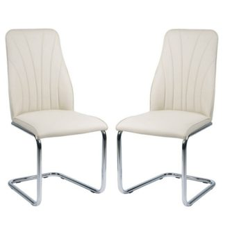 An Image of Irma Dining Chairs In Cream Faux Leather In A Pair