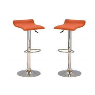 An Image of Stratos Bar Stool In Orange PVC and Chrome Base In A Pair