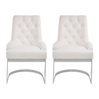 An Image of Azaltro Ivory Linen Fabric Dining Chairs In Pair