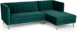 An Image of Amicie Right Hand Facing Chaise End Corner Sofa, Seafoam Blue Velvet