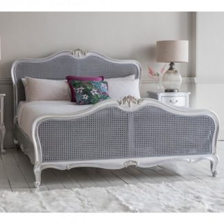An Image of Chic Mahogany Wooden Super King Size Bed In Silver