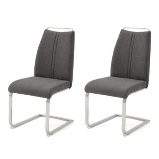 An Image of Giulia Anthracite Fabric Cantilever Dining Chair In A Pair