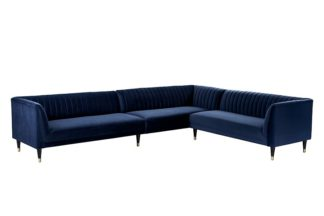 An Image of Baxter Large Right Hand Corner Sofa - Navy Blue