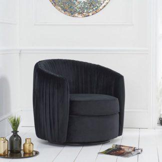 An Image of Pavos Tub Design Velvet Swivel Lounge Chair In Black