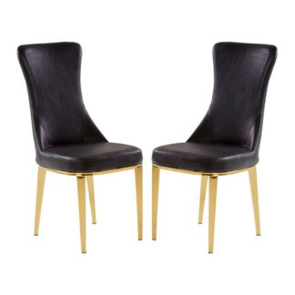 An Image of Denebola Black PU Leather Dining Chair In Pair
