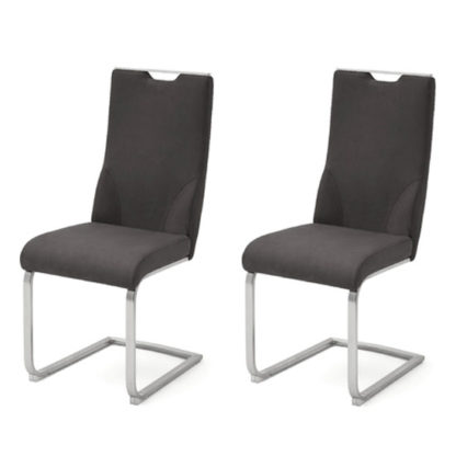 An Image of Jiulia Anthracite Leather Cantilever Dining Chair In A Pair