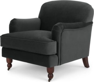 An Image of Orson Small Armchair, Velvet Midnight Grey