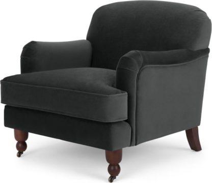 An Image of Orson Small Armchair, Velvet Midnight Grey