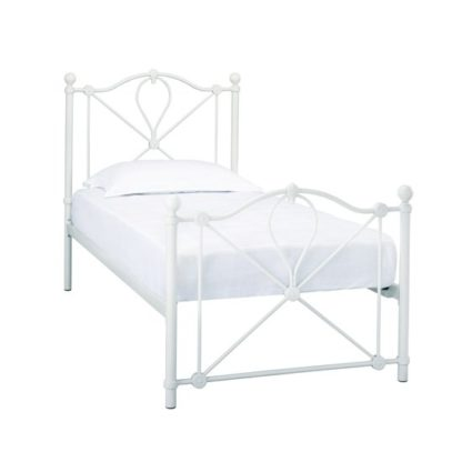 An Image of Bronte Metal Single Bed In White