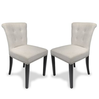 An Image of Calgary Fabric Dining Chair In Linen Effect Natural In A Pair
