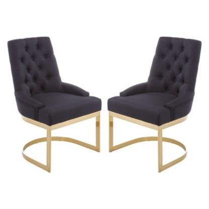 An Image of Azaltro Black Linen Fabric Dining Chairs In Pair