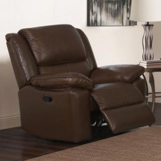 An Image of Toledo Leather And PVC Recliner 1 Seater Sofa In Brown
