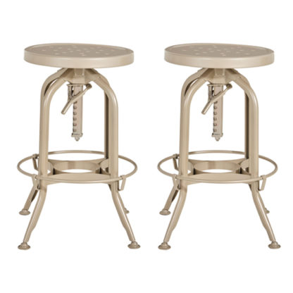 An Image of Dofida Champagne Adjustable Metal Bar Stools In Pair