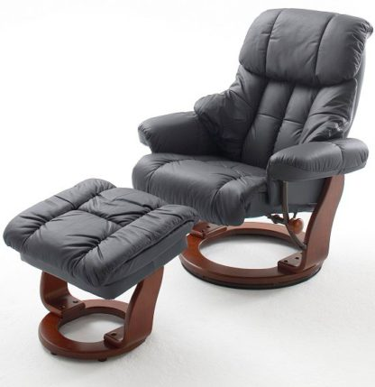 An Image of Calgary Swivel Relaxer Chair Leather With Foot Stool In Black