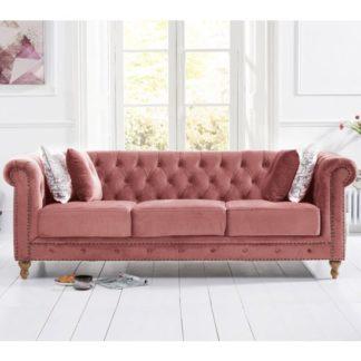 An Image of Propus Plush Fabric 3 Seater Sofa In Blush