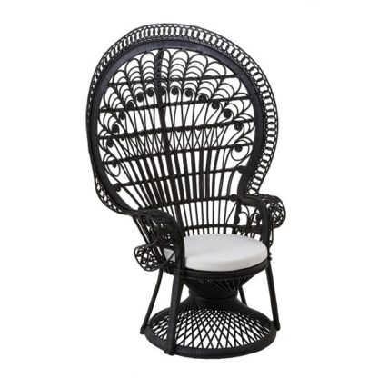 An Image of Sara Lounge Or Bedroom Chair In Rattan Black Peacock Design