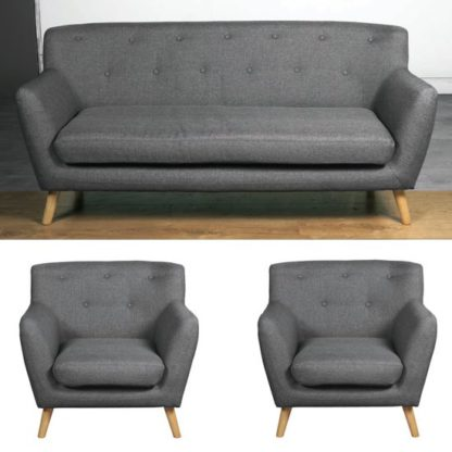 An Image of Lyrae Fabric 3 Seater Sofa And 2 Armchairs Suite In Dark Grey