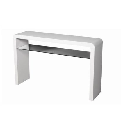 An Image of Norset Large Console Table In White Gloss With 1 Glass Shelf